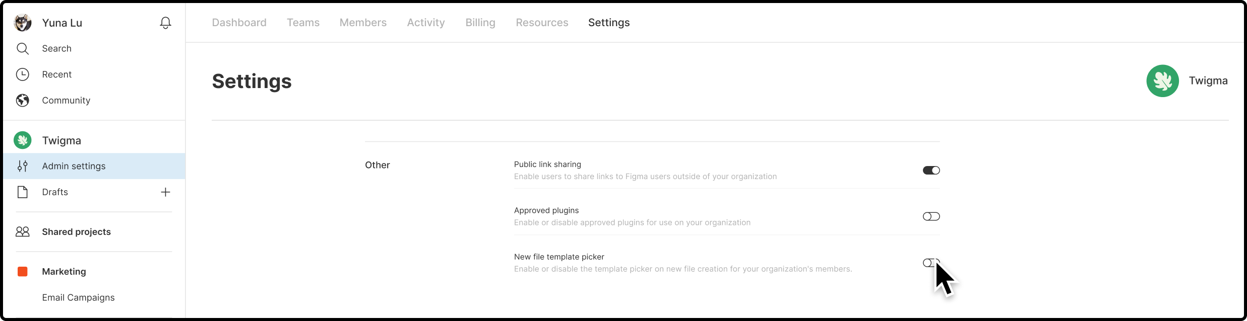 Settings tab of an organization's Admin settings with the Other section identified and the cursor hover overing the New file template picker setting