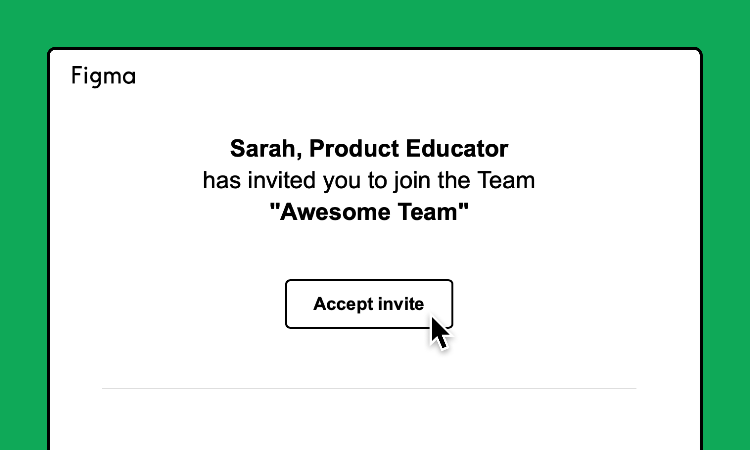 Email which invites the user to join the team