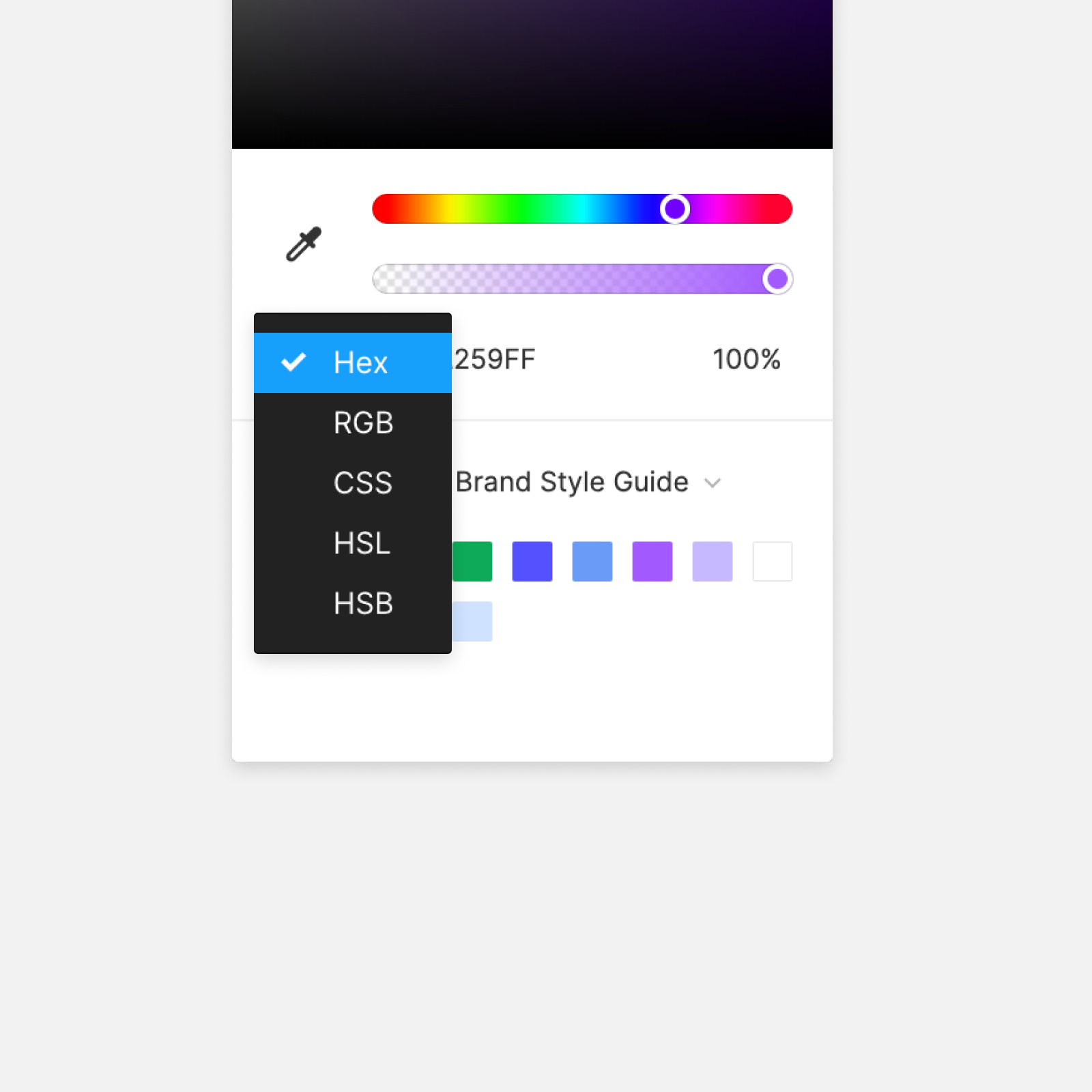 Image showing the color models available in the color picker