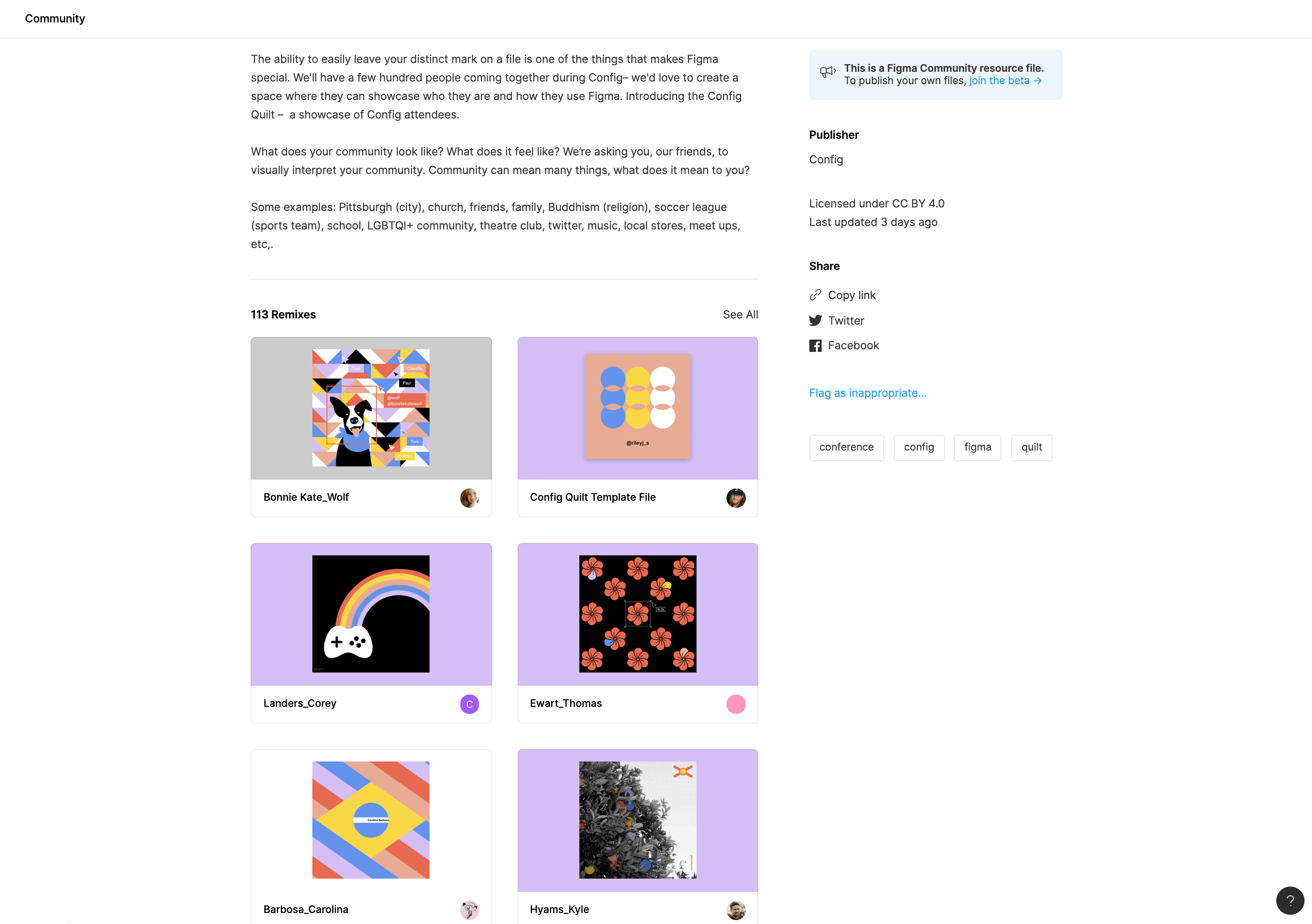 A community file with 113 remixes. The original file is a quilt from Config 2019, Figma's annual user conference. The remixes were sourced from the community.