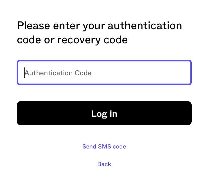 Prompt to enter two-factor athentication code in login screen