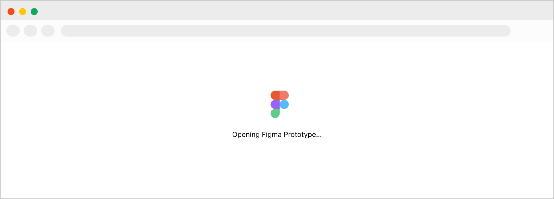 Loading screen that lets viewers know they are loading a Figma prototype