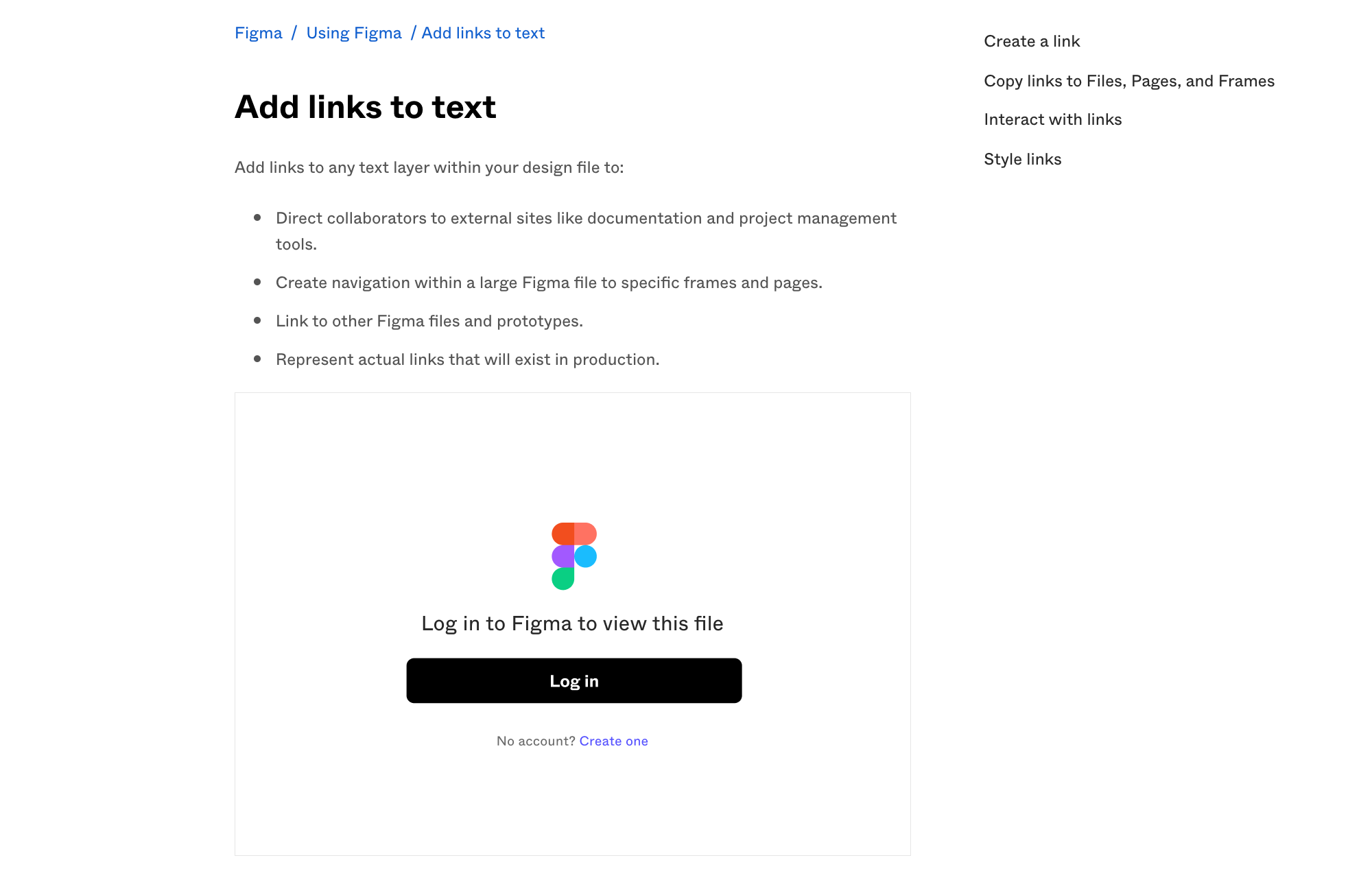 Image showing an embed in an article with a prompt to log in to Figma to view