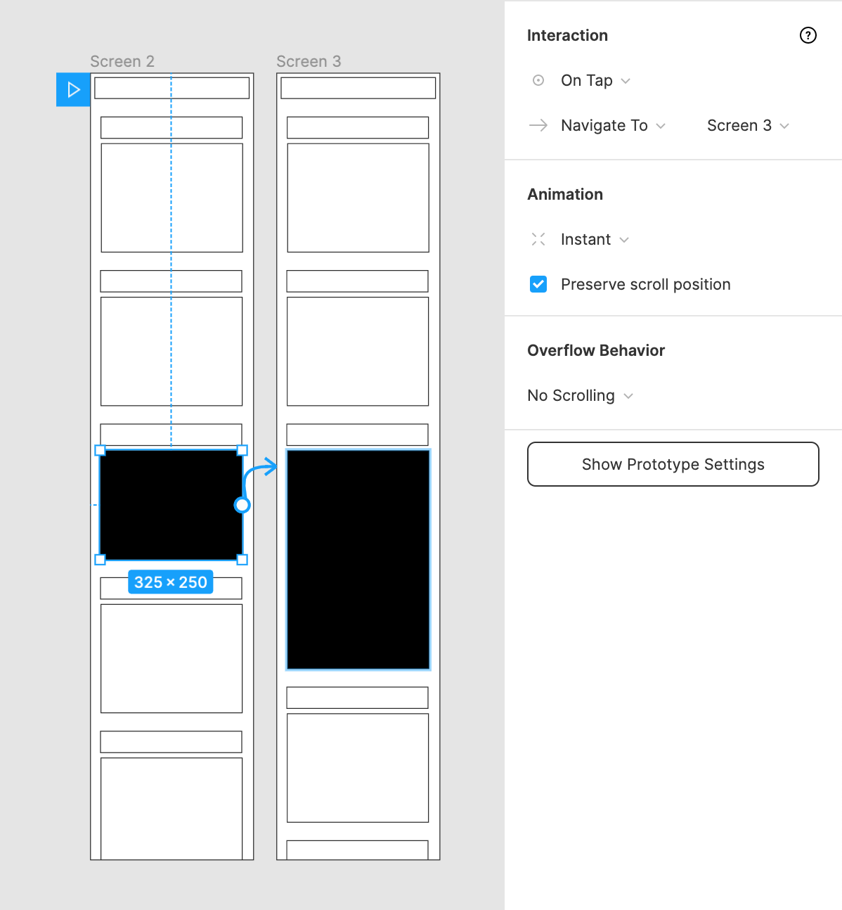 Wireframe prototype in the Editor which expands an element when you tap on it