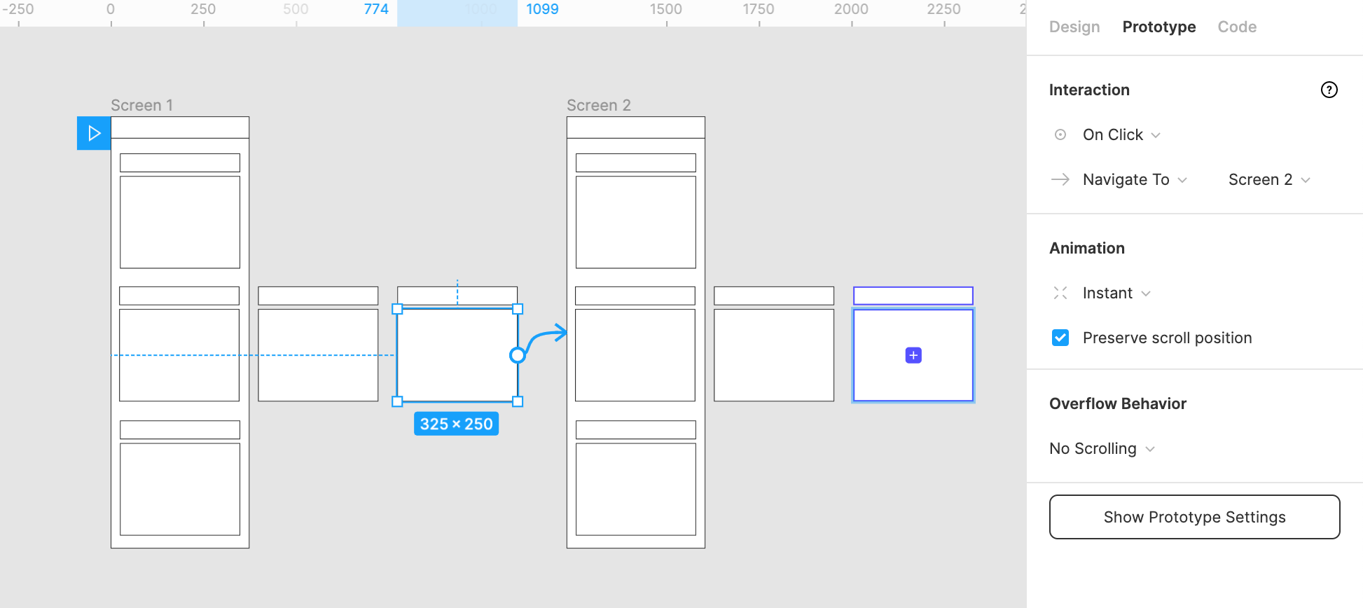 Image of the a prototype in the Figma canvas showing the transition settings for the final object
