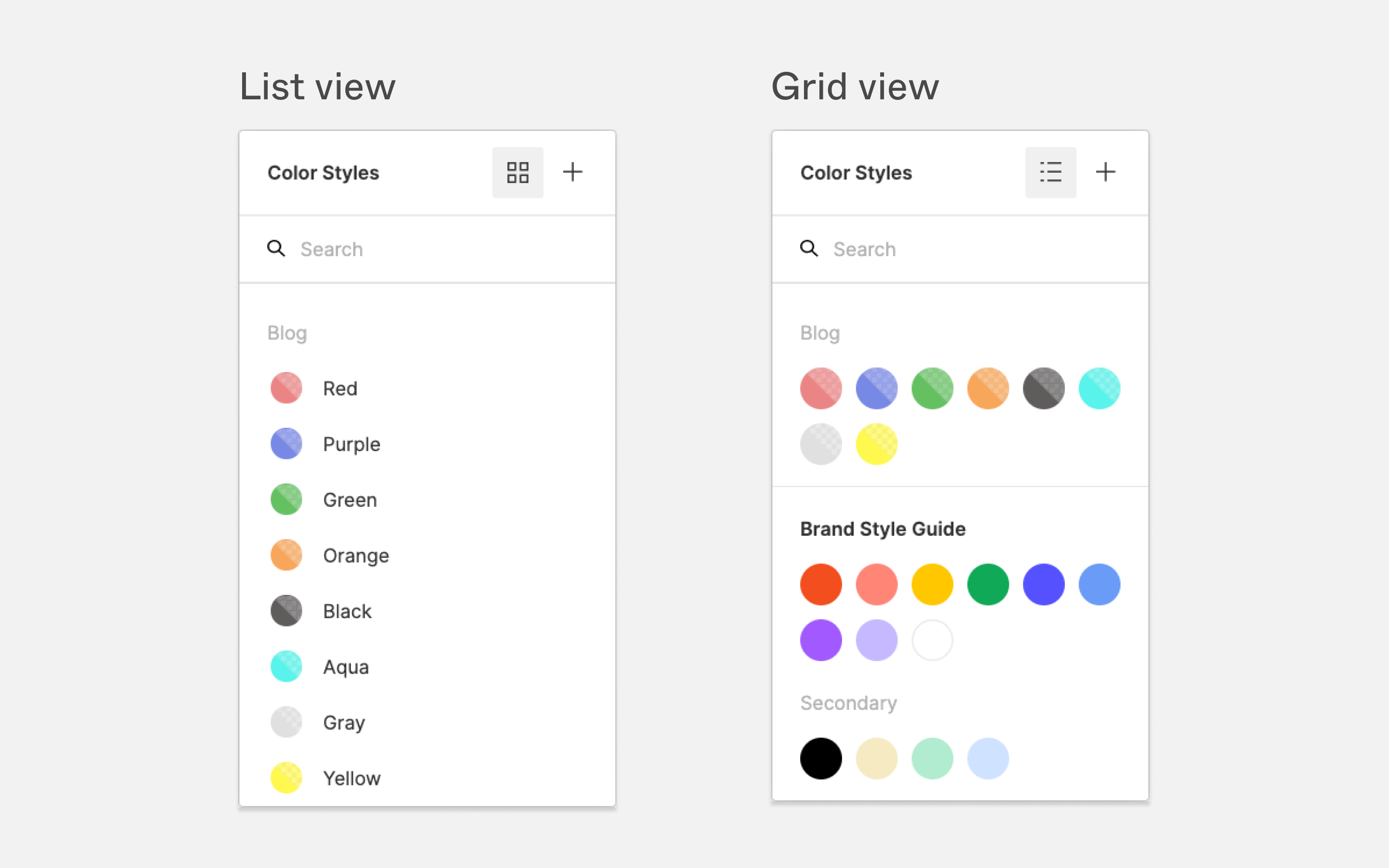 Color Style picker list and tile views