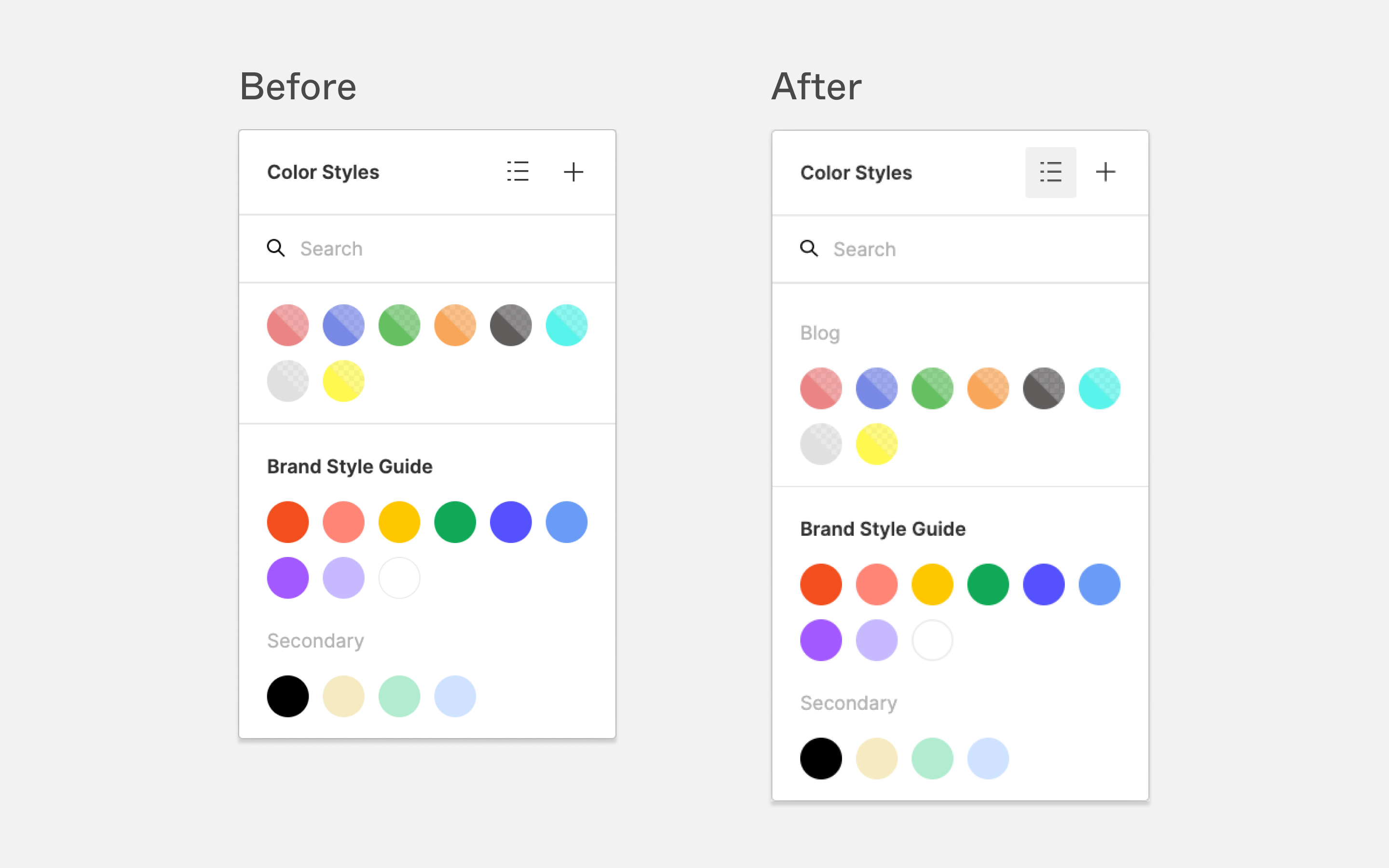 Color Style picker with grouped styles