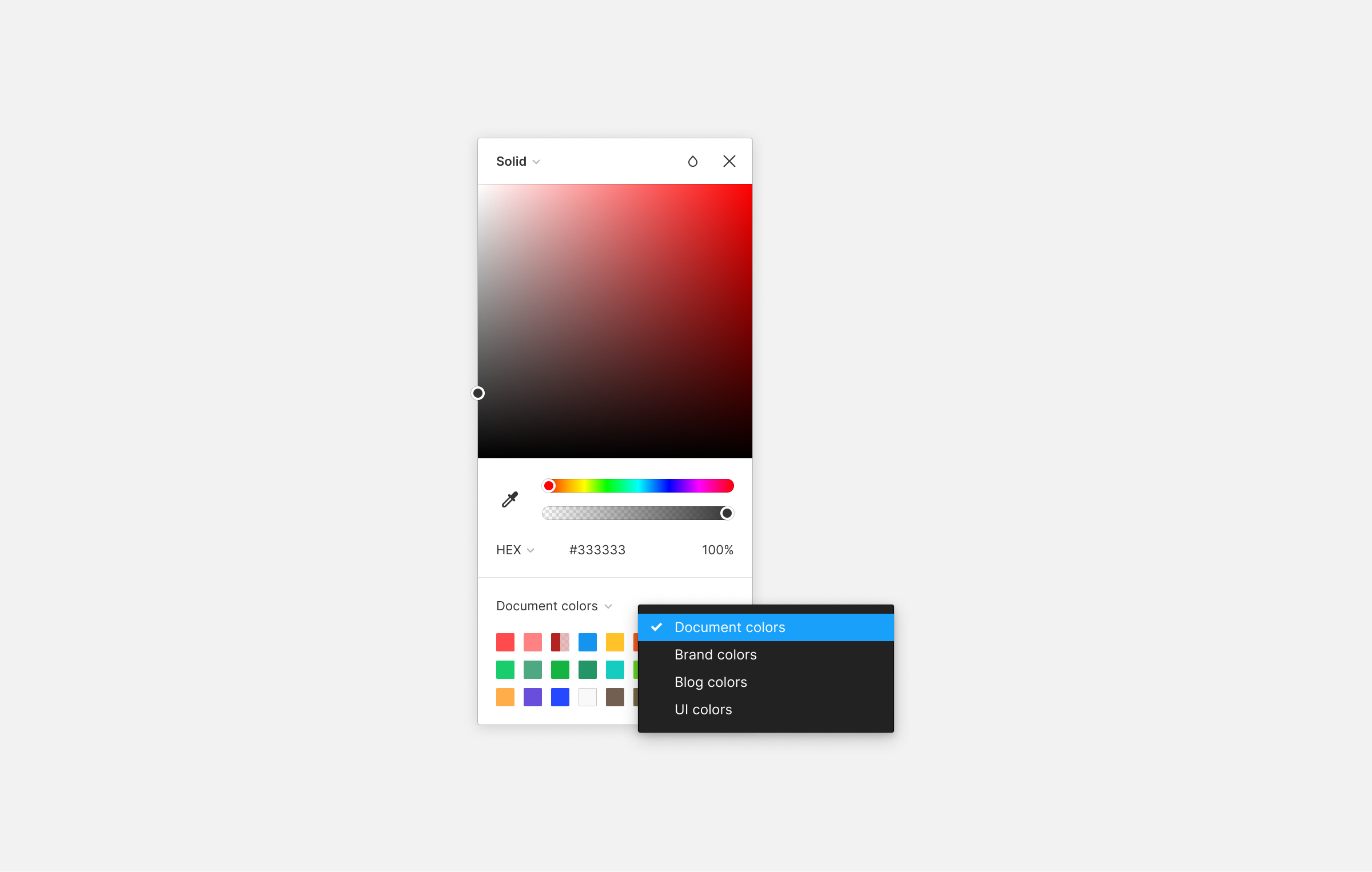 Color picker with library menus displayed