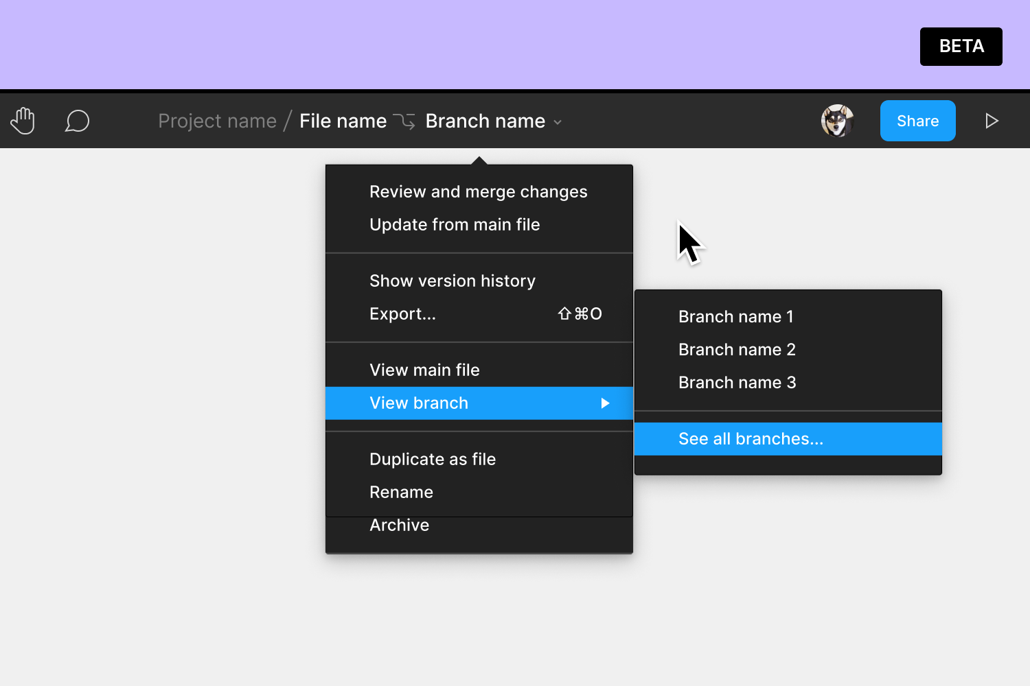 Expanded file name menu in the toolbar with view branch highlighted and a list of branches
