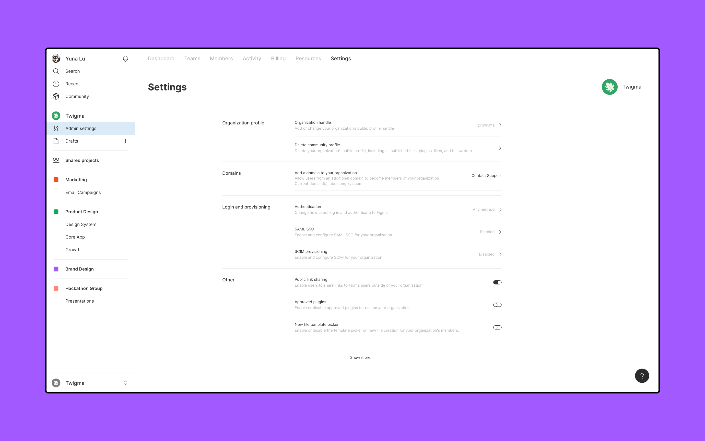 The Settings tab of the organization's Admin settings with settings for Figma Community, domains, login, resources and more