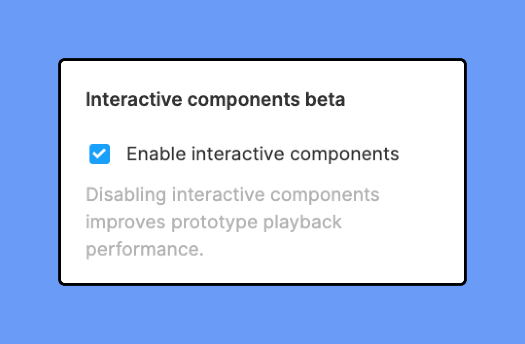 Checkbox for turning interactive components on and off in Prototype tab